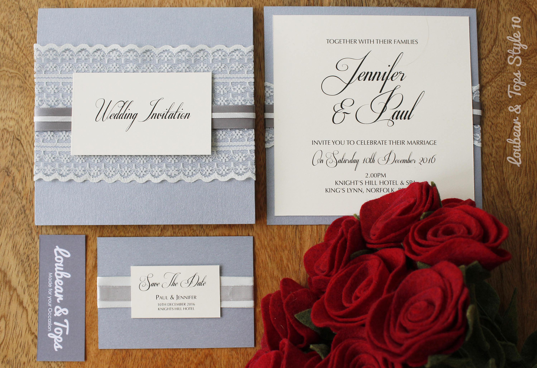 Luxury Lace and Ribbon Wedding Invitation