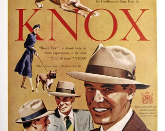 1950 Knox Hats Ad - Knox Boxer Fawn Hats Ad - 1950s Sharp Dressed Men's Apparel