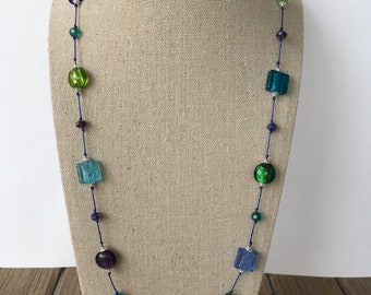 Foil Lampwork Glass Beaded Necklace