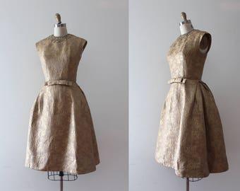 vintage 1950s gold dress // 50s 60s gold brocade party dress