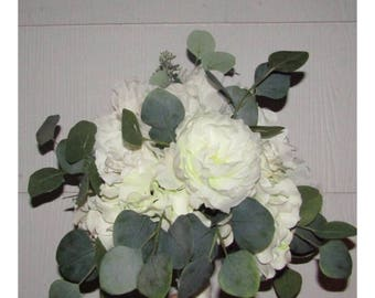 White Rose Hydrangea Eucalyptus Bridal Bouquet