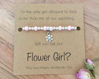 Pink Pearl Bracelet, Boho Bridesmaid, Barn Wedding, Flower Girl Gift Box, Bridesmaid Jewelry, Fall Wedding, Will You Be My, Flower Girl