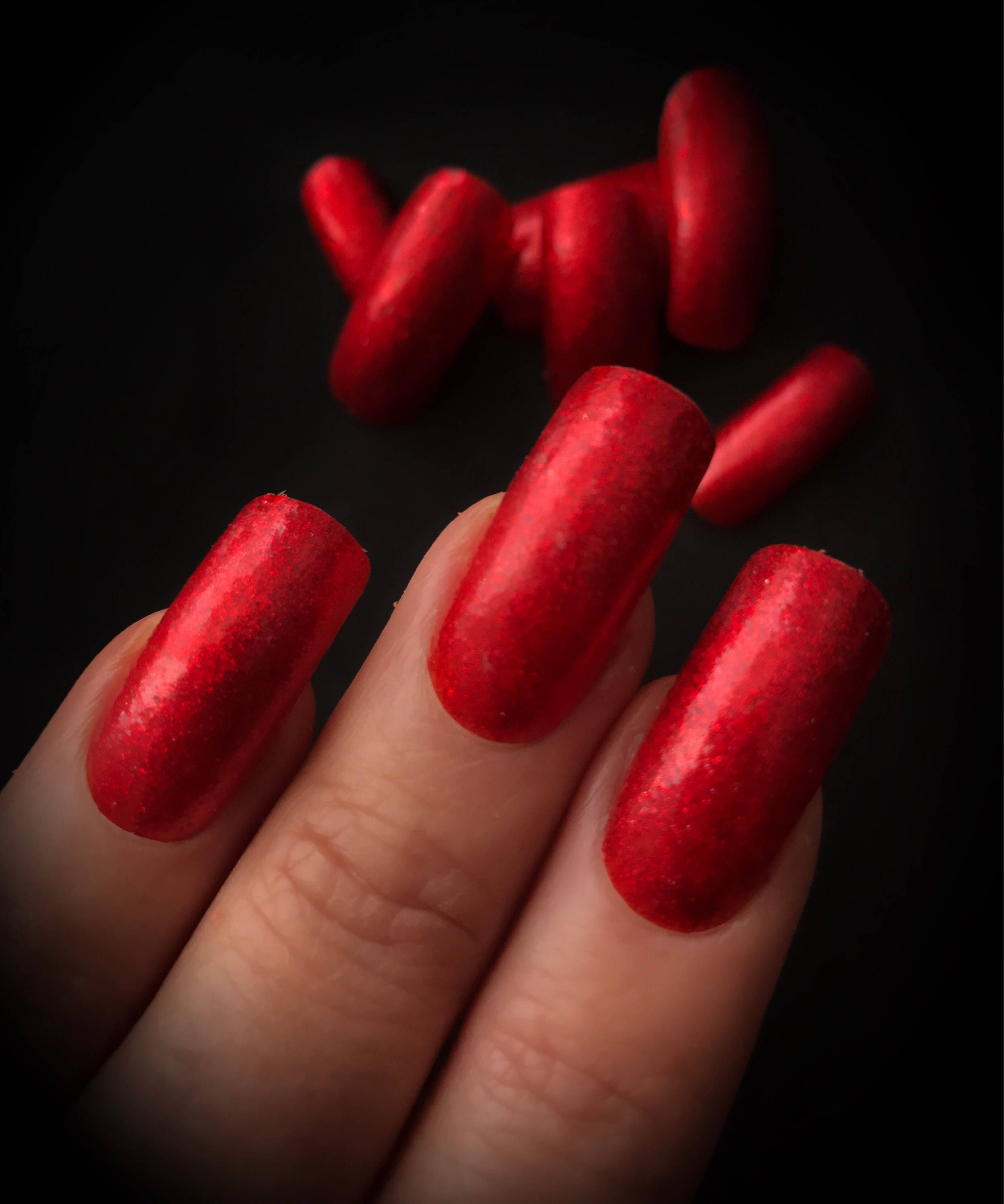 Long red glitter sparkles curved false nails coffin square nail art