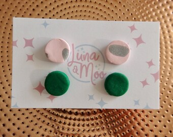 2 Pack Pink and Green Stud Earrings