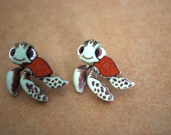 Squirt Earrings -- Finding Nemo Earrings, Squirt Studs, Finding Dory, Turtle