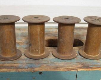 4 Wood Spools Antique Industrial Thread Wire Bobbins Vintage