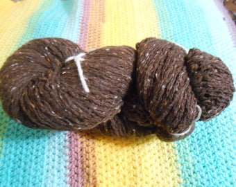 Chocolate Brown Tweed - Acrylic/Nylon/Wool/ Angora Blend - 1013 yards - Worsted weight - Recycled, Reclaimed, Upcycled