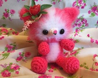 Fuzzy Kitty - Pretty in Pink - Amigurumi - Crazy Cat Lady - Ready to Ship