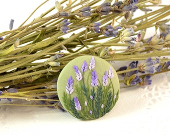 Lavender Brooch - Round small floral brooch - Polymer clay jewelry- Brooch with lavender - Applique -Handmade