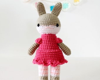 rabbit amigurumi plushie stuffed toy, nursery baby girl shower gift .. nikola