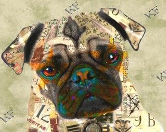 Pop Art Pug Puppy Dog - 5x7 - Instant Download