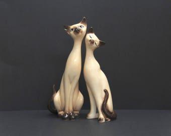 Vintage Oversized Mid Century Siamese Love Cat Figurines, Set of 2 (E7469)