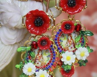 Ukrainian Traditional Folk Poppy Daisy Cameo Crystal Studs Earrings