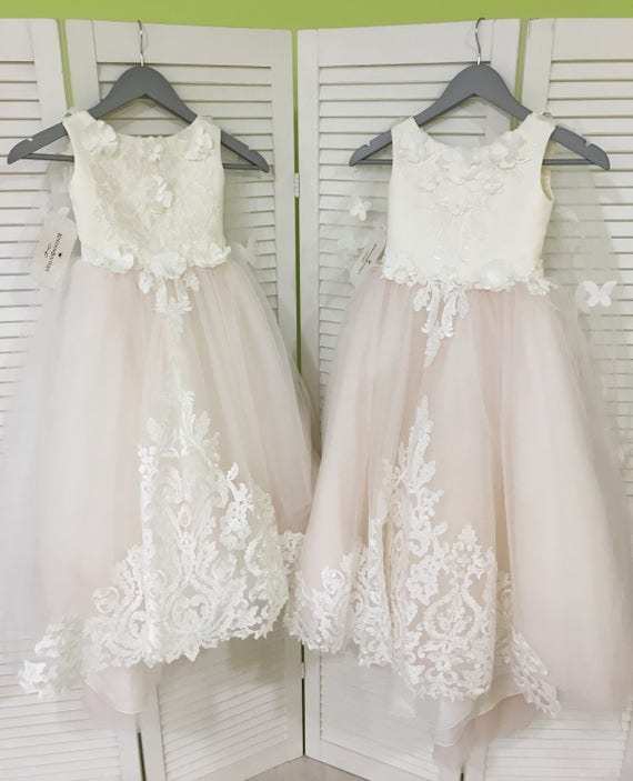 Ivory and blush pink flower girl dress birthday wedding like this item mightylinksfo Image collections
