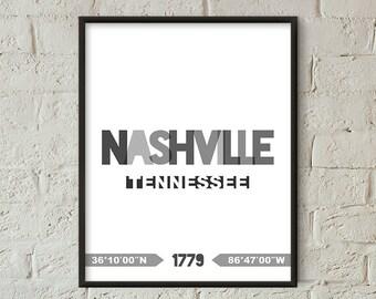 Nashville Print, Nashville Printable, Nashville Poster, Nashville Wall Art, Nashville Coordinates, Nashville Minimalist Decor (W0230)