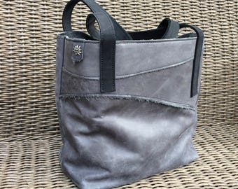 Handmade leather shopper bag with unique rough edge-hand made leather Tote bag Raw Edge