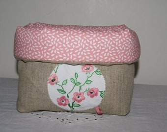 Fabric basket Organizer quilted linen and old embroidery: pink flowers