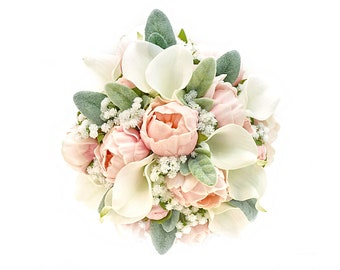 Stemple's Gatherings - Real Touch Pink Peonies, White Callas,Baby's Breath & Lamb's Leaf - Dropped in a vase or as a wedding bouquet
