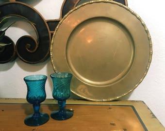 Brass Bamboo Platter, Vintage Serving Tray