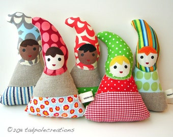 Organic Baby Toy - Gnome Cloth Doll  - Eco Friendly New Baby Gift - Shower Gift - Your Choice of 5 Styles - Baby Safe