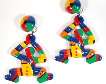 Clip on Earclips large clips man dancing colorful popart handpainted 8x6cm SoHo Cologne 1992