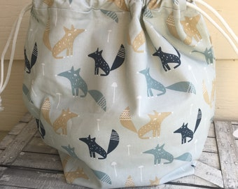 Funky Foxes Knitting Project Bag - Toad Hollow bag, Crochet Project bag, drawstring bag, perfect gift for him or her,gift for knitter