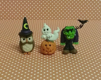 Hand Sculpted Halloween Miniature Frankenstein, Ghost and Owl in Polymer Clay