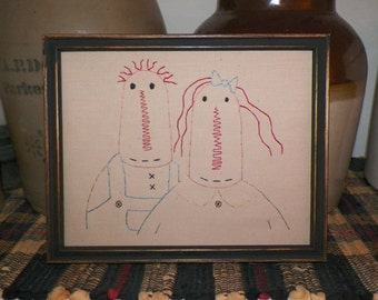 UNFRAMED Primitive Stitchery Raggedy Ann and Andy Doll Prim Stitched Picture Rustic Decoration Rag Dollie Country Rustic Decor wvluckygirl