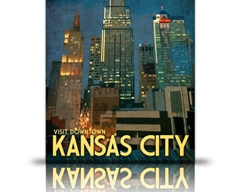 Kansas City Travel Print  Downtown Vintage Style Poster in Deep Blues, Greens, and Gold Textures