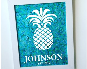Hand-painted Framed Personalized Pineapple Ink Painting / Personalized Pineapple Framed Wall Art / Pineapple Family Name Welcome Sign