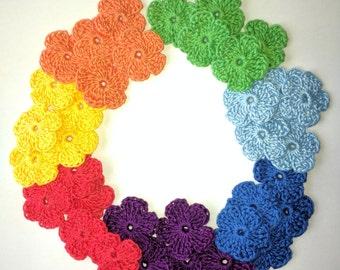 Crochet flowers applique Rainbow,set of 35 flowers,size 1 inch,Seven colours,scrapbooking, party decorations