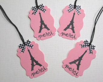10 Eiffel Tower Thank You Favor Tags - Paris Wedding Favors -  Paris Bridal Shower Tags - Ooh La La Party Favors - Paris Baby Shower Tags