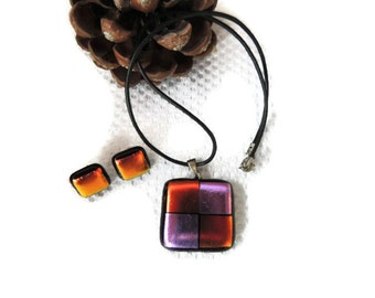 Fused glass necklace,fused glass earrings, red pink purple square fused glass necklace and earrings,necklace and earrings that glow