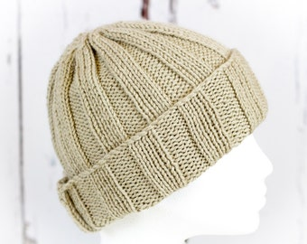 Cresta Wide Rib Slouch Beanie Hat - Beige - Hand Knit, Luxury Cashmerino, Winter Hat, Ski Hat; READY TO SHIP