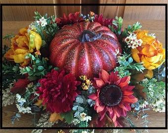 Fall Floral Arrangements, Table Swags, Thanksgiving Centerpiece, Pumpkin Fall Table Centerpiece, Thanksgiving Table Decor Autumn Table Decor