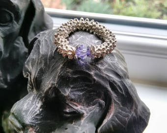 Silver ring with bright purple Swarovski crystal