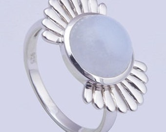 White moon stone ring,925 sterling silver ring,Handmade ring,Gemstone ring,silver ring