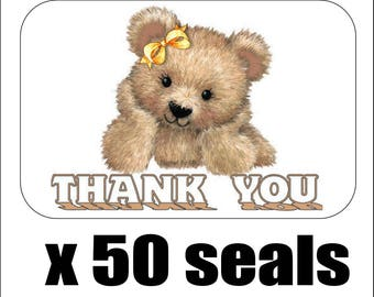 """50 Cute Bear Thank You Envelope Seals / Labels / Stickers, 1"""" by 1.5"""""""