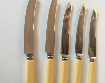5 x Vintage REDGE Butter Knives in Sheffield Stainless with Faux Bone Handles