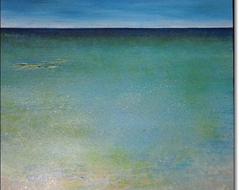 Acrylic Painting Abstract Landscape CONTEMPORARY ART ORIGINAL Seascape Textured Canvas Art Blue Green Turquoise 24x24x1,5 (60cmx60cmx3,6cm)