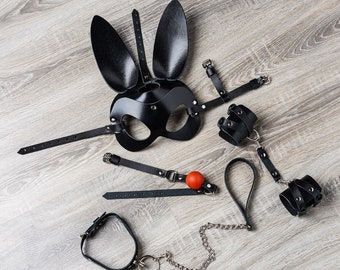 Set of leather bdsm accessories - Leather Bunny Mask, leather handcuffs, choker, red gag