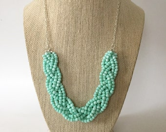 Mint Green Beaded Braid Necklace
