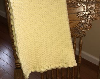 Crocheted Waffle Stitch Baby Afghan -Yellow