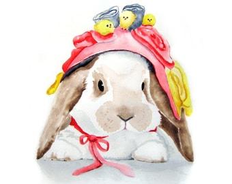 Easter Bunny - Bunny Watercolor Art - Bunny's Brand New Bonnet - Signed  Art Print  - Spring home decor nursery art