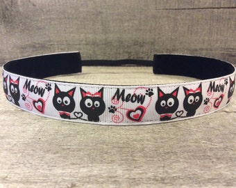 Black Cats Nonslip Headband, Noslip Headband, Workout Headband, Sports Headband, Running Headband, Athletic Headband