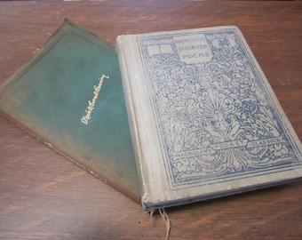 2 antique Poetry books,Robert Browning,Elizabeth Barrett Browning,famous British poets, literature teacher, teacher gift, poetry lover