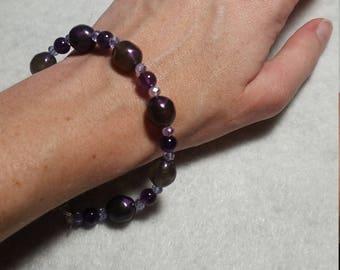 Purple and Lavender beaded bracelet