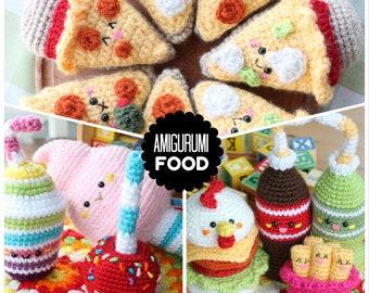 Amigurumi Food Crochet Pattern x3 !!! Chicken Burger, Soda, Cotton Candy, Milkshake, Pizza, Beer and more!!!