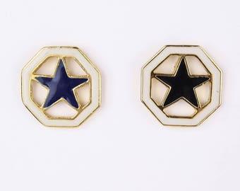 80's Star STUD EARRINGS // Nautical // Sheriff Marshall Badge // Large