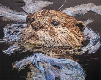 Otter textile Artwork